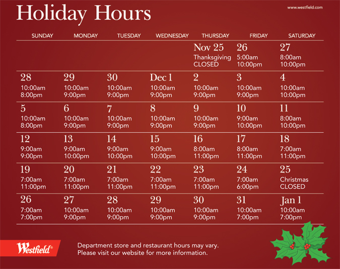 extended holiday shopping hours at the westfield annapolis mall - Nordstrom Christmas Hours