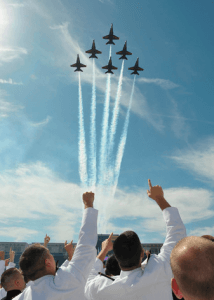 After being furloughed for much of 2013, the Blue Angels are back in the sky. Photo by washingtonpost.com