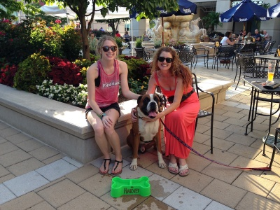Victoria and Kathryn Goodenough with their gorgeous Boxer Harvey enjoying Yappy Hour at Fado Irish Pub in Annapolis.